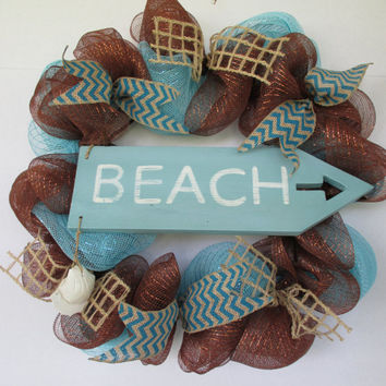 Beach wreath, Beach house decor, Beach decor, Summer wreath, deco mesh wreath, housewarming gift