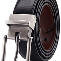 Bulliant Men Belt-Leather Reversible Belt for Men With Single Prong Buckle in Gift Box,Trim to Fit