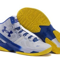 Men's Under Armour Stephen Curry 2 Dub Nation Home White Blue Yellow Basketball Shoes