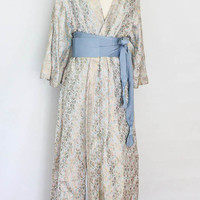Couture Designer HAND EMBROIDERED SILK Kimono Gown from Nepal