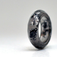 Transparent Graphite Silver Flakes Multifaceted Band Resin Ring Size 7.5, Silver Leaf Handmade Resin Jewelry