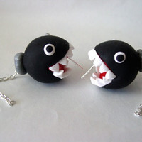 Super Mario Nintendo Ear Biting Chain Chomp Earrings