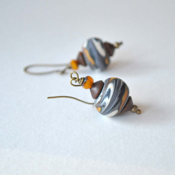 Earthy Earrings, Lampwork Glass Earrings, Bohemian Earrings, Sand Desert Earrings