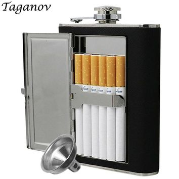 Cigarettes Case 6oz 5oz stainless steel hip flask whiskey liquor bottle Black PU Leather with Funnel Home Outdoor Sport