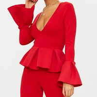 Red Frill Sleeve Peplum Jumpsuit