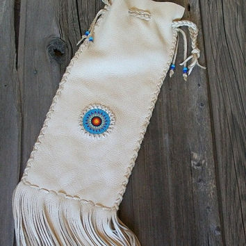 Beaded chanupa bag Buckskin pipe bag Fringed leather pipe bag