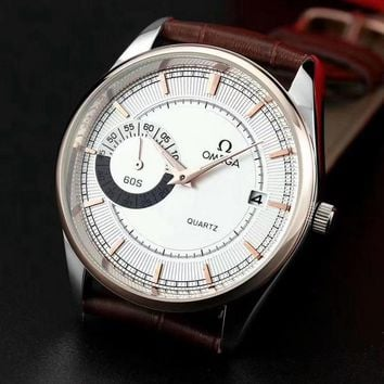 DCCK O014 Omega Quartz Simple Cowhide Strap Watches Maroon White