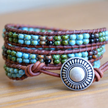 Bohemian beaded leather wrap bracelet, Blue, Green, Brown, Black, multicolor, mix, gift idea, hipster, by OlenaDesigns, SALE