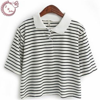 new 2017 small fresh tops preppy style woman t shirt stripe short design turn-down collar tees women T-shirt Women's Clothing