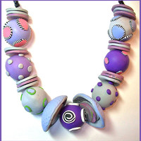 Purple Chunky Polymer Clay Necklace 16 in. Handcrafted Large Beads Lightweight