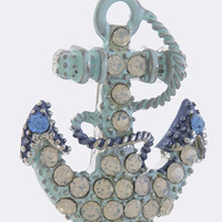 CRYSTAL PAVE PAINTERLY ANCHOR DESIGN BROOCH