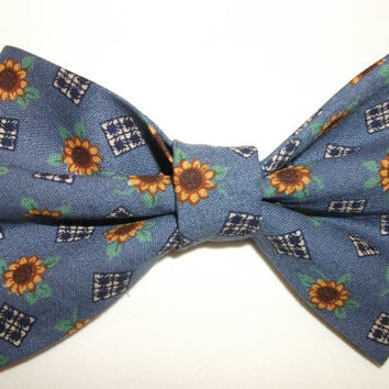 Sunflowers Hair Bow on Alligator Clip Blue Background Country Cottage Shabby Chic Primitive