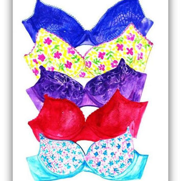 Lingerie, Feminine, Lace Bralette,  Wall decor, watercolor painting, decal  decals, Fashion, beauty, wardrobe, best friend gift, funny fun