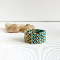 Turquoise textured custom band ring office fashion by CallOfEarth