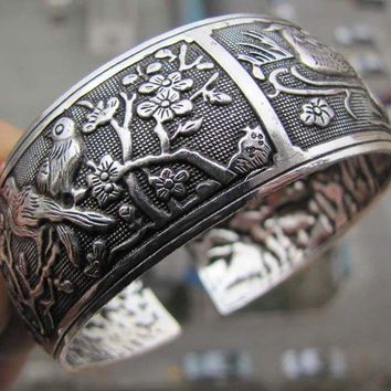 Tibetan Tibet silver Chinese Bird Flower Totem Wide Bangle Cuff Bracelet PoB Er