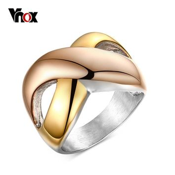 Vnox Criss Cross Gold-color Vintage Intertwined Two Tone Rings