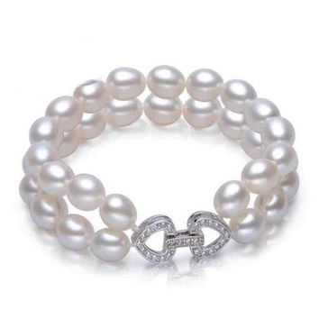 Natural Freshwater Double Pearl  925 Sterling Silver Bracelet