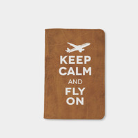 Keep calm and fly on passport holder cover vintage leather passport wallet travel accessories passport case by wanderlustcover shop