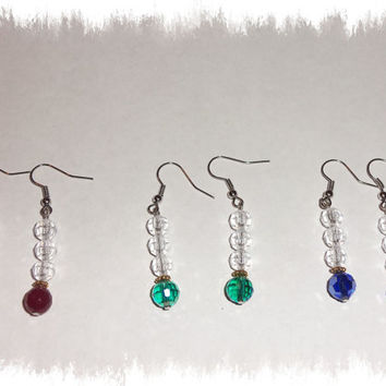 Emerald green ab disco ball ruby red cobalt blue faceted gemstone dangle earrings