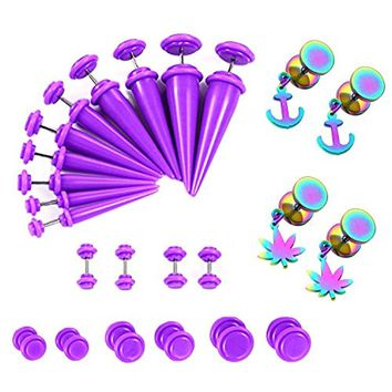 BodyJ4You 24PCS Ear Gauge Plugs and Tapers Earring Set Rainbow Stainless Steel Purple Stretching Cheater