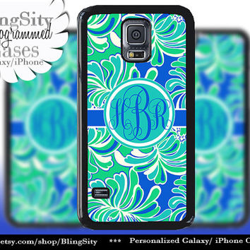 Monogram Aqua Galaxy S5 case S4 Teal Turquoise Floral Tropical Personalized Galaxy S3 Case Note 2 3 Cover
