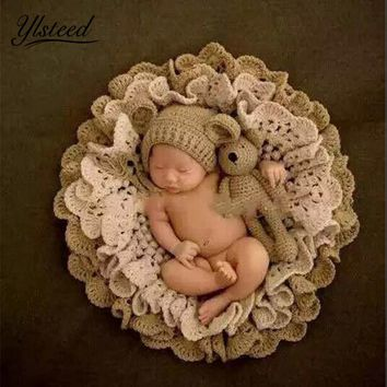 Baby Photography Blanket Crochet Blanket Hat Bear Dolls Knitted Rabbit Hats Toy Baby Photo Props Newborn Fotografia Accessories