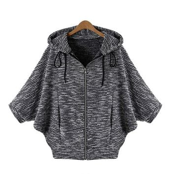 2016 Autumn Fashion Hot Sale Batwing Sleeve Casual Solid Sweater Cardigan Three Quarter Sleeve Hooded Poncho Knitted Cardigans