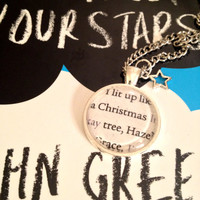 John Green The Fault in Our Stars Silver Plated Book Page Necklace