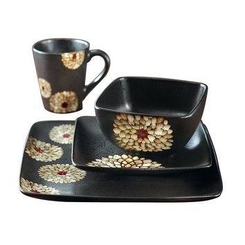 American Atelier Asiana 16-pc. Dinnerware Set (Black)