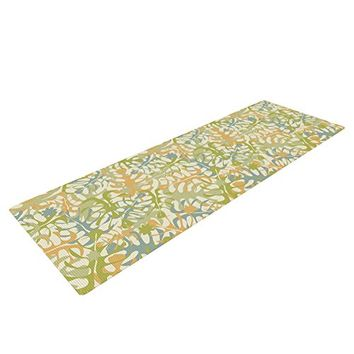 "Kess InHouse Julia Grifol ""Warm Tropical Leaves"" Yoga Exercise Mat, Green/Orange, 72 x 24-Inch"