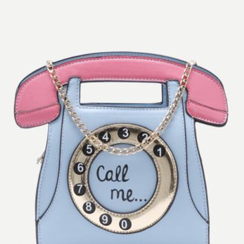 "Telephone ""Call Me"" Purse with Gold Chain Strap"