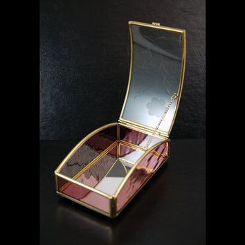 Vintage Brass and Purple Glass Jewelry Box, Tarot Cards Box, Mirrored Inside, Etched Flower on Curved Lid