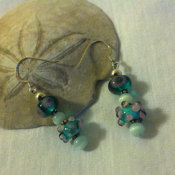 Green and Pink Glass Earrings One of a Kind Handmade Artisan Lamp Work Glass Earrings With Raised Dots Trendy Fun Jewelry