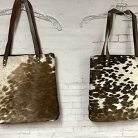 cow fur tall tote