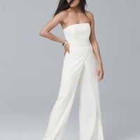 White House Black Market Convertible White Strapless Split-Leg Jumpsuit