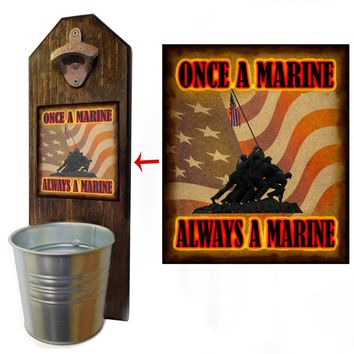 Once A Marine Bottle Opener and Cap Catcher, Wall Mounted