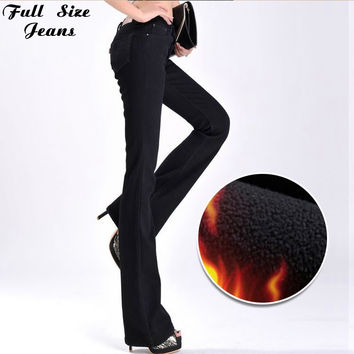 High Quality Waist Extra Long Thicken Fleece Flare Winter Jeans Femme Wide Leg  Large Plus Size Jean Blue Black Velvet Pants 6Xl