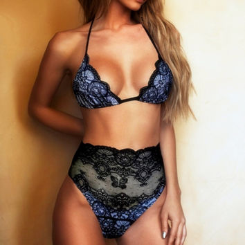 Sexy Lace Floral Mesh Hollow Out Women Bikini High Waist Swimsuit Retro Swimwear Brazilian Biquinis Strap Bandage Bathing Suit