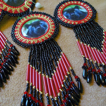 Native American Style Rosette beaded Panther Barrette and Earring Set