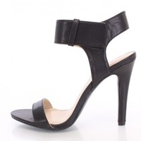 Black Single Sole Strap Vamp Heels Faux Leather