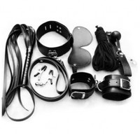 Miss Darcy Erotic Lady Toys Night Sex Fetish Couples Tools Set Bondage Kit Handcuffs+Leather Blindfold+Flogger Flirting Horse Whip+Breathable Ball Gag+Slave Collar+ Rope +Breast Clip (7 Pcs/Pack) Black:Amazon:Health & Personal Care