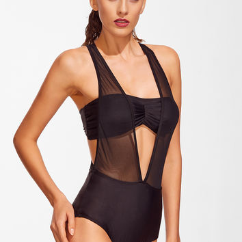 Black Mesh Detail Plunge Neck Swimwear