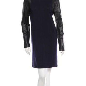 ONETOW balenciaga wool leather dress 2
