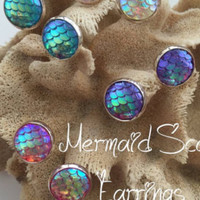 White Opal Crystal Mermaid Scale Necklace