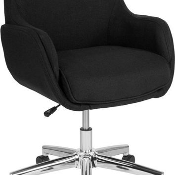 Rochelle Home and Office Upholstered Mid-Back Chair in Black Fabric [BT-1172-BLK-F-GG]
