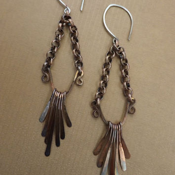 Copper Gypsy Dangle Earrings, Hammered Strip Earrings, Rustic Earrings on Etsy.