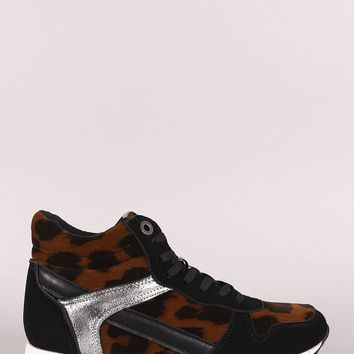 Leopard Round Toe High Top Lace Up Sneaker