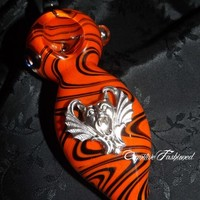 Zig Zag Orange and Black Colored Gargoyle Glass Pipe