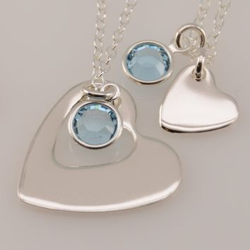 Heart Cutout Mother Daughter Necklaces