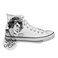 Sketch of  Harry Styles One Direction White shoes New Hot Shoes